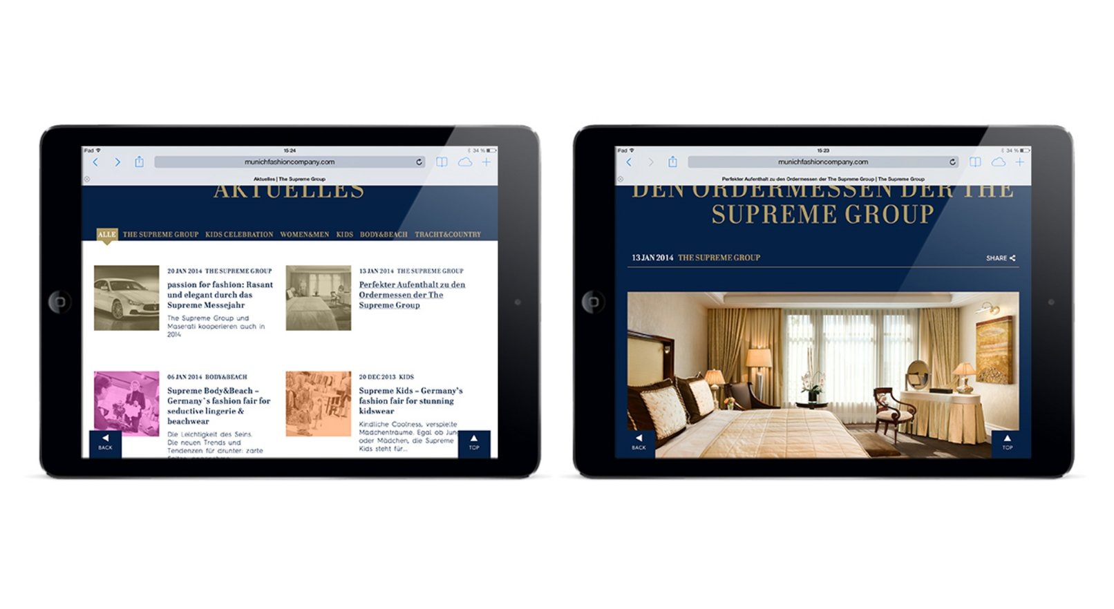 Mock-Ups der Supreme Group Website auf Tablets