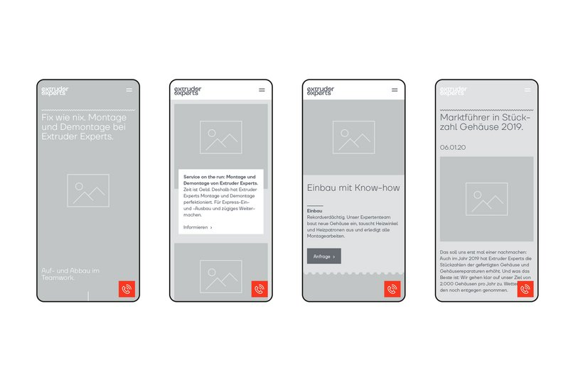 Wireframes der mobilen Website