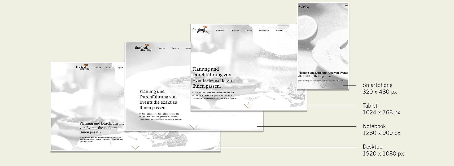 Responsive Layouts der neuen Finefood Catering Website
